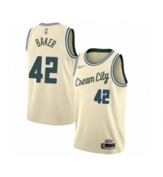 Men's Milwaukee Bucks #42 Vin Baker Swingman Cream Basketball Jersey - 2019 20 City Edition