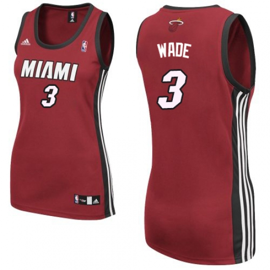 Women s Adidas Miami Heat  3 Dwyane Wade Swingman Red Alternate NBA Jersey 892ded1c8