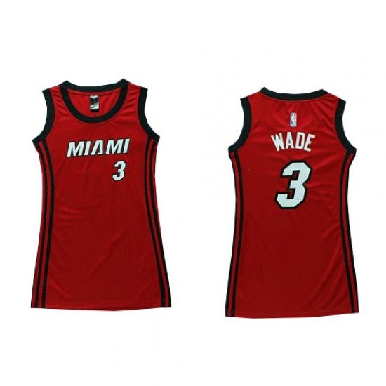 Women s Adidas Miami Heat  3 Dwyane Wade Swingman Red Dress NBA Jersey e8552665f