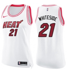 Women's Nike Miami Heat #21 Hassan Whiteside Swingman White/Pink Fashion NBA Jersey