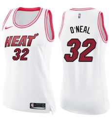 Women's Nike Miami Heat #32 Shaquille O'Neal Swingman White/Pink Fashion NBA Jersey