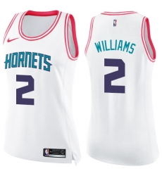 Women's Nike Charlotte Hornets #2 Marvin Williams Swingman White/Pink Fashion NBA Jersey