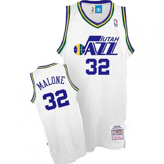 Men s Adidas Utah Jazz  32 Karl Malone Authentic White Throwback NBA Jersey 1fb351216