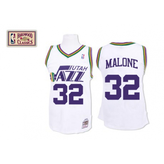 Men s Mitchell and Ness Utah Jazz  32 Karl Malone Authentic White Throwback NBA  Jersey 6fe934fc0