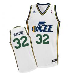 Women s Adidas Utah Jazz  32 Karl Malone Swingman White Home NBA Jersey 1912df3289