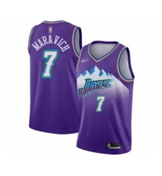 Men's Utah Jazz #7 Pete Maravich Authentic Purple Hardwood Classics Basketball Jersey
