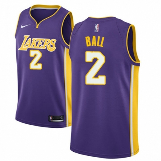 sale retailer 94bc4 7f92f Youth Nike Los Angeles Lakers #2 Lonzo Ball Authentic Purple ...