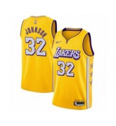 Men's Los Angeles Lakers #32 Magic Johnson Swingman Gold 2019-20 City Edition Basketball Jersey
