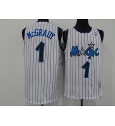 Men's Orlando Magic #1 Tracy Mcgrady White Mitchell & Ness Black Retired Player Jersey