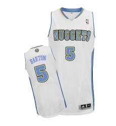 Men's Adidas Denver Nuggets #5 Will Barton Authentic White Home NBA Jersey