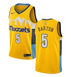 Men's Nike Denver Nuggets #5 Will Barton Authentic Gold Alternate NBA Jersey Statement Edition