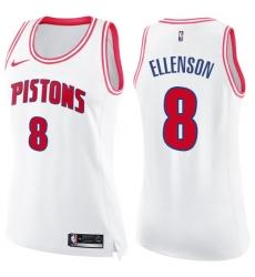 23de5df74921 Women s Nike Detroit Pistons  8 Henry Ellenson Swingman White Pink Fashion  NBA Jersey