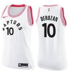410bf88ada0 Women's Nike Toronto Raptors #10 DeMar DeRozan Swingman White/Pink Fashion NBA  Jersey