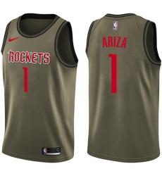 0262d3d260e Men s Nike Houston Rockets  1 Trevor Ariza Swingman Green Salute to Service  NBA Jersey