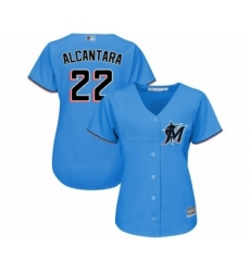 Women's Miami Marlins #22 Sandy Alcantara Authentic Blue Alternate 1 Cool Base Baseball Jersey
