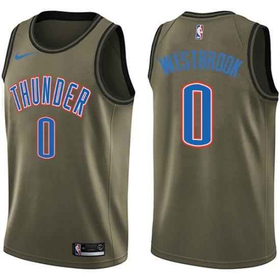 6478ce714e5 Men's Nike Oklahoma City Thunder #0 Russell Westbrook Swingman Green Salute  to Service NBA Jersey