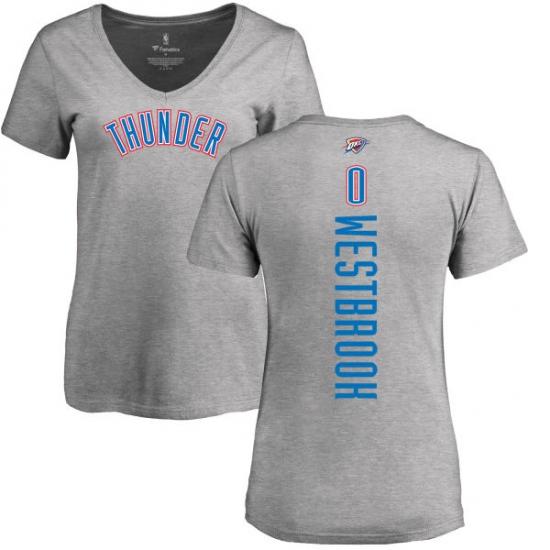 NBA Women s Nike Oklahoma City Thunder  0 Russell Westbrook Ash Backer  T-Shirt 4de50cc50