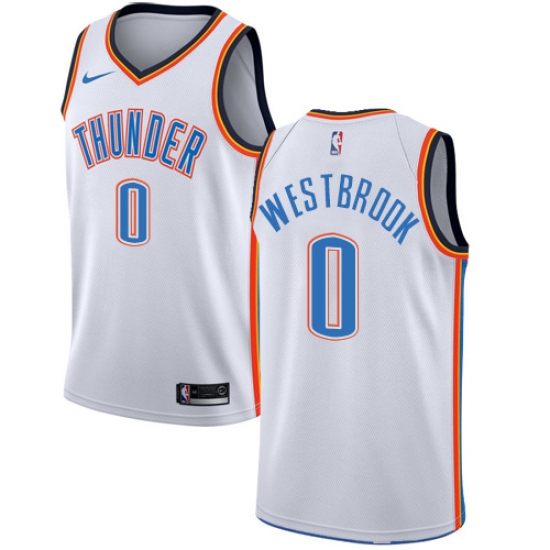 Youth Nike Oklahoma City Thunder  0 Russell Westbrook Authentic White Home  NBA Jersey - Association 16a4c736c