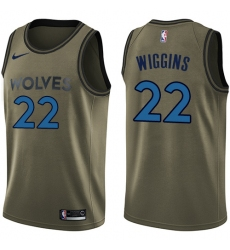 4e2e46602 Men s Nike Minnesota Timberwolves  22 Andrew Wiggins Swingman Green Salute  to Service NBA Jersey