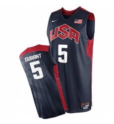 Men's Nike Team USA #5 Kevin Durant Authentic Navy Blue 2012 Olympics Basketball Jersey