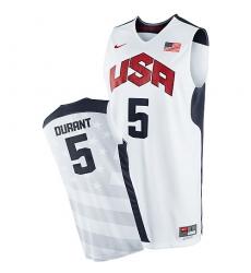 Men's Nike Team USA #5 Kevin Durant Swingman White 2012 Olympics Basketball Jersey