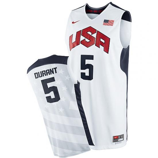 sale retailer fda61 e38b8 Men's Nike Team USA #5 Kevin Durant Swingman White 2012 ...