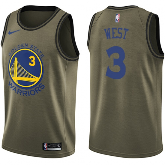 Men s Nike Golden State Warriors  3 David West Swingman Green Salute to  Service NBA Jersey 6c647b3c5