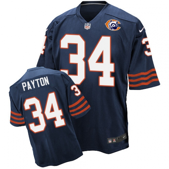 31a5e4b6bab Men's Nike Chicago Bears #34 Walter Payton Elite Navy Blue Throwback NFL  Jersey