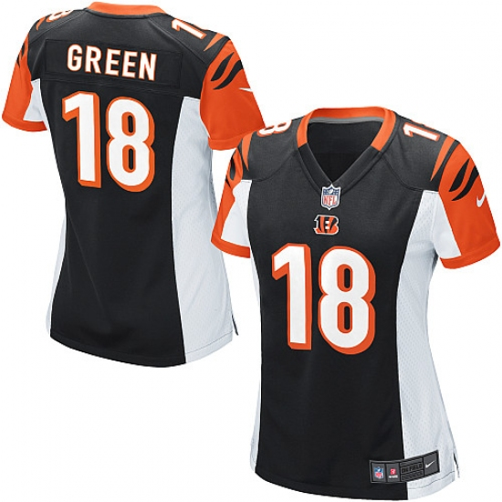 Nice Women's Nike Cincinnati Bengals #18 A.J. Green Game Black Team Color  for cheap