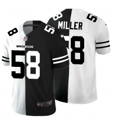 Men's Denver Broncos #58 Von Miller Black White Limited Split Fashion Football Jersey