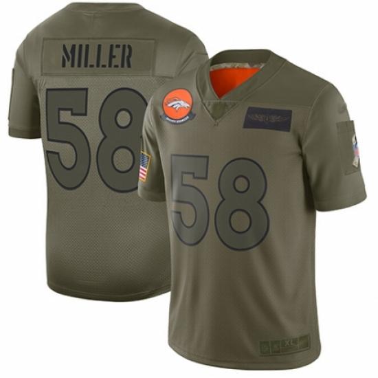 Men's Denver Broncos #58 Von Miller Limited Camo 2019 Salute to Service Football Jersey