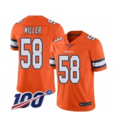 Men's Nike Denver Broncos #58 Von Miller Limited Orange Rush Vapor Untouchable 100th Season NFL Jersey