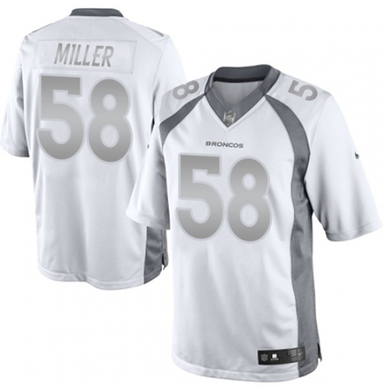 Men s Nike Denver Broncos  58 Von Miller Limited White Platinum NFL Jersey 34259a562