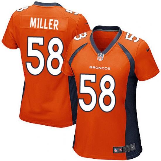 b471ab41d Women s Nike Denver Broncos  58 Von Miller Game Orange Team Color NFL Jersey