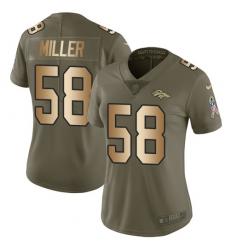 Women's Nike Denver Broncos #58 Von Miller Limited Olive/Gold 2017 Salute to Service NFL Jersey