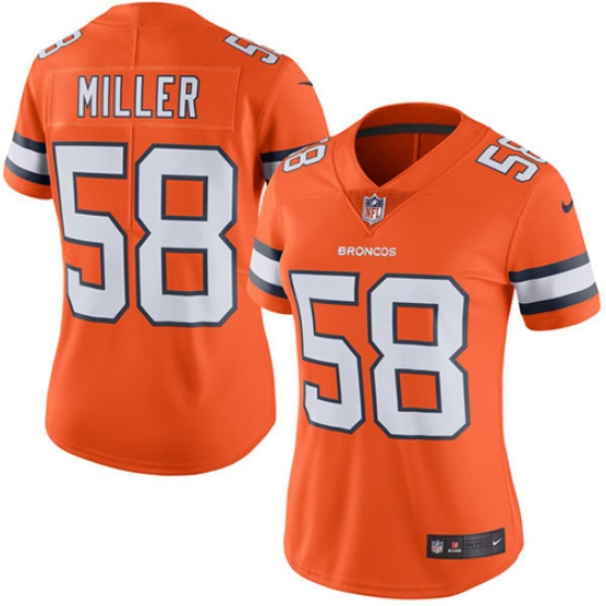 Women s Nike Denver Broncos  58 Von Miller Limited Orange Rush Vapor  Untouchable NFL Jersey 3969f9571
