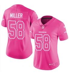 Women's Nike Denver Broncos #58 Von Miller Limited Pink Rush Fashion NFL Jersey
