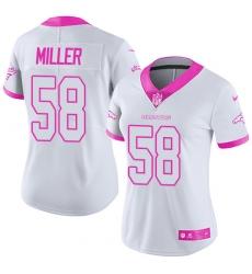 Women's Nike Denver Broncos #58 Von Miller Limited White/Pink Rush Fashion NFL Jersey