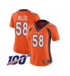 Women's Nike Denver Broncos #58 Von Miller Orange Team Color Vapor Untouchable Limited Player 100th Season NFL Jersey