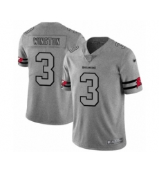Men's Tampa Bay Buccaneers #3 Jameis Winston Limited Gray Team Logo Gridiron Football Jersey