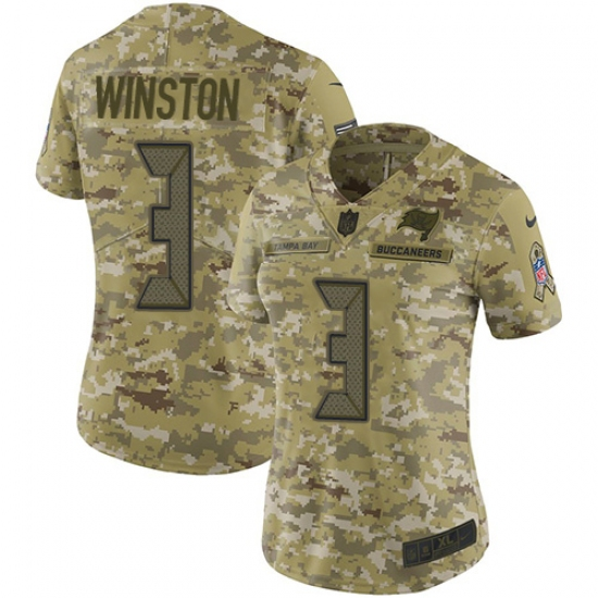 Women s Nike Tampa Bay Buccaneers  3 Jameis Winston Limited Camo 2018  Salute to Service NFL 30ab45760