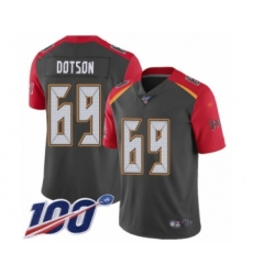 Men's Tampa Bay Buccaneers #69 Demar Dotson Limited Gray Inverted Legend 100th Season Football Jersey