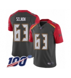 Men's Tampa Bay Buccaneers #63 Lee Roy Selmon Limited Gray Inverted Legend 100th Season Football Jersey