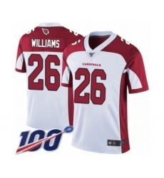 Men's Arizona Cardinals #26 Brandon Williams White Vapor Untouchable Limited Player 100th Season Football Jersey
