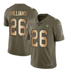 Men's Nike Arizona Cardinals #26 Brandon Williams Limited Olive/Gold 2017 Salute to Service NFL Jersey