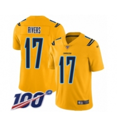Youth Nike Los Angeles Chargers #17 Philip Rivers Limited Gold Inverted Legend 100th Season NFL Jersey