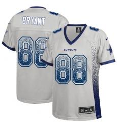 Women's Nike Dallas Cowboys #88 Dez Bryant Elite Grey Drift Fashion NFL Jersey