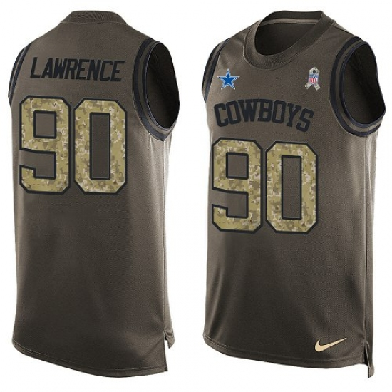 8a19f816418 Men's Nike Dallas Cowboys #90 Demarcus Lawrence Limited Green Salute to  Service Tank Top NFL