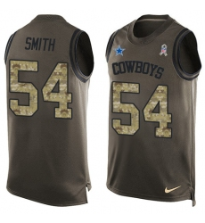 Men's Nike Dallas Cowboys #54 Jaylon Smith Limited Green Salute to Service Tank Top NFL Jersey