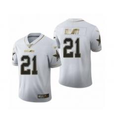 Men's Dallas Cowboys #21 Ezekiel Elliott White Golden Edition Limited Football Jersey